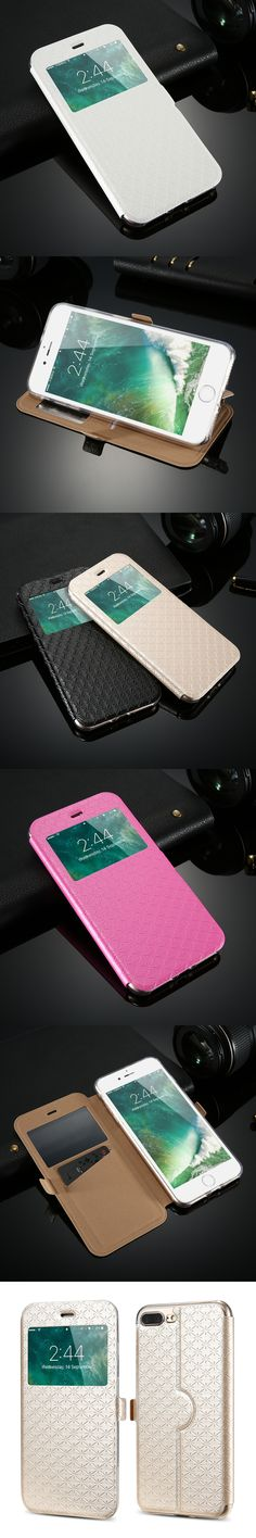 KISSCASE Window View Case For iPhone 7 6S 8 6 Plus X PU Leather Cases For Samsung Galaxy S6 S7 Edge Note 5 8 Flip Holder Cover