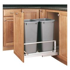 Rev-A-Shelf - Rev-A-Shelf 5349-2150DM-217 Double 50 Qt. Soft Close Pullout Waste Bin - Silver - Are you looking to reduce clutter and spruce up your kitchen? Need a wastebasket that will not only hold a lot of garbage but not take up too much space? The Bottom Mount Double 50 Quart Silver Pullout Waste Container Cabinet Organizer might be precisely what you're looking for. This pullout not only saves you space in your kitchen, but it looks great as well. The two included waste containers…