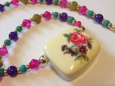 Vintage Lucite Rose Pendant 1960s, Colorful Necklace, Spring Jewelry, Spring 2014, Trendy Gold on Etsy, $28.00
