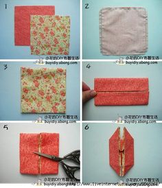 part 1 of photo tutorial for red fabric/Patchwork origami . Origami Quilt, Origami Bag, Origami Envelope, Fabric Origami, Sewing Hacks, Sewing Crafts, Sewing Projects, Cathedral Window Quilts, Fabric Ornaments