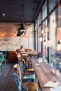 We are doing some design research on coffee shops design and particularly looking into bar style seating next to the windows. This is a cool trick and works both ways for the Client and for the cafe o