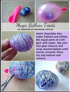 """Magic Balloon Treats....for a Valentine's Day card, attach a piece of paper that says """"You're EGGcellent!"""" ....cute craft for kids!"""