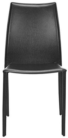 Amazing offer on Safavieh Home Collection Aubrey Modern Black Leather Side Chair (Set online - Pptoplike Black Leather Dining Chairs, Beauty Chair, Large Bean Bag Chairs, Fabric Storage Ottoman, Black Decor, Chair And Ottoman, Home Collections, Side Chairs, Black Side