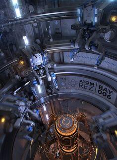 ArtStation - Print Bay by Igor Sobolevsky Writing Fantasy, 3d Fantasy, Science Fiction, Sci Fi Background, Spaceship Interior, Cyberpunk City, Mechanical Design, Environment Concept Art, Future City
