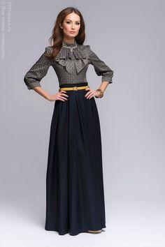 Платье темно-синее длины макси с принтованным верхом OW07096DB , синий в интернет магазине 1001dress.Ru