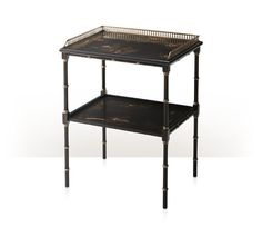 An imbuya burl and Chocolate Chinoiserie hand painted lamp table, the rectangular top with a fine brass gallery above ring turned legs joined by an undertier. The original Regency.