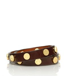 I find myself wearing more gold as I get older??? weird?... none the less I have to have this!  Leather Double Wrap Logo Stud Bracelet | Womens Bracelets