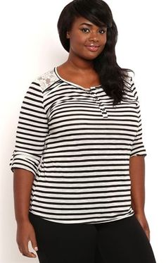 Deb Shops Plus Size Striped Henley Top with Lace Shoulders $12.50