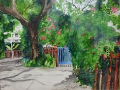 A plein air painting in watercolor on paper.