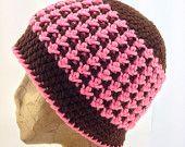 Crochet, Dark Brown and Pink Textured Beanie Hat for Women, Tweens, Teens