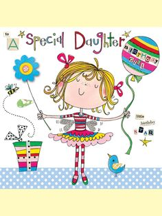 rachel ellen card - happy birthday daughter - girl and balloon