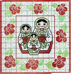 matryoshka cross stitch chart - pick your own colors