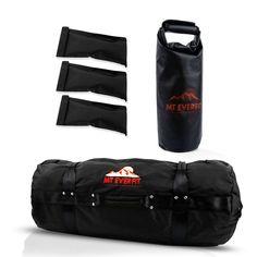 Sandbag Workout Bag & Sandbag Kettlebell Set -  Fitness Sandbags with 8 Foam Padded Handles & 3 Inner Bags - Black / Small 25-75LB