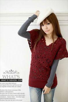 PATRONES GRATIS DE CROCHET: Patrón jersey mujer con triángulos a crochet