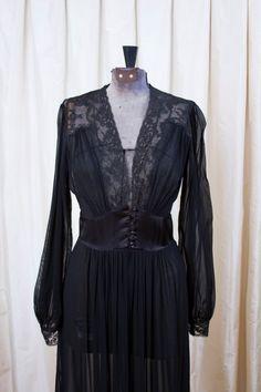 d12ccfa901 1940 s Robe    Black Chiffon and Lace Sheer Robe