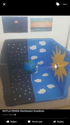 Picture only. Great way to explore day/night and earth rotation sistema solar SISTEMA SOLAR Kid Science, Science Projects For Kids, Preschool Science, Science Experiments Kids, Science Fair, Teaching Science, School Projects, Crafts For Kids, Boat Crafts