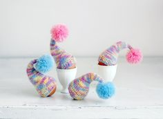 Multicolor egg warmers, set of 4. $18.00, via Etsy.