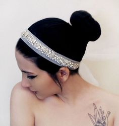Rhinestone Beaded Tulle  Bridal  Headband Wedding by gebridal