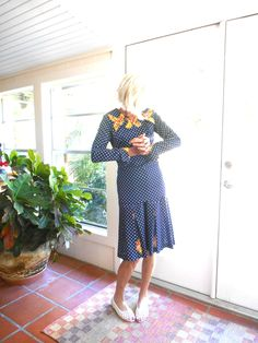 Vintage navy and white polka dot two piece top and skirt long sleeve homemade…