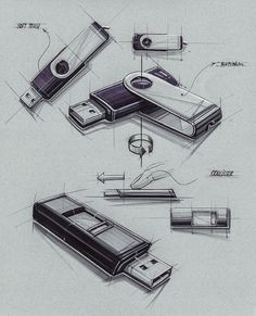 Sketches we like / Vintage / USb Stick / marker Render /: