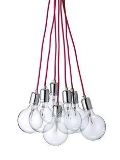 Lámpara de techo con siete bombillas y cordones rosas Decor, House Design, Simple Lamp, Lamp, Ceiling Lights, Multi Light Pendant, Deco, Lamp Light, Home Decor