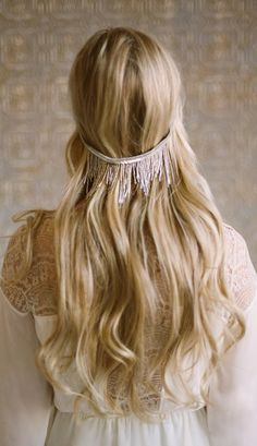 Beaded Fringe Halo silver gold princess romantic
