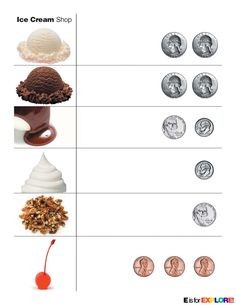 Coins Unit - Fun way to practice counting coins! - Build your own ice cream sundae - E is for Explore!