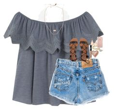 #summer #outfits / Off The Shoulder + Denim Shorts