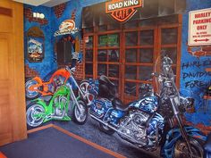 Motorcycle themed custom wall mural. Custom Wall Murals, Hand Painted, Boy Rooms, Commercial, Painting, Motorcycle, Boy Bedrooms, Painting Art, Paintings