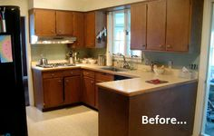 Before pic of a very affordable and attractive kitchen make-over. I probably would have removed the open cabinets, installed $.07 a piece subway tile up the wall and as a backsplash, and hung open shelves if I was staying in the house.