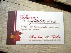 AUTUMN Wedding Photo Share Cards
