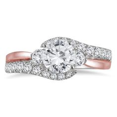 1 1/10 Carat Diamond Engagement Ring in Two Tone 14K Pink and White Gold