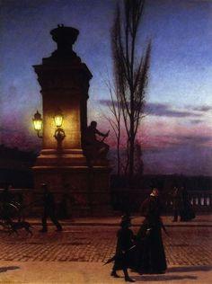 polishartandtea:Aleksander Gierymski 1850-1901 (Polish), Louis Bridge in Munich, oil on canvas, 1890