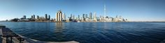 180 Degree Panorama of City of Toronto Skyline viewed from Tip of Billy Bishop airport in Winter Sun - Photo by Robson Smith