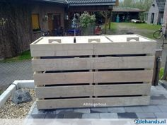 Kliko-ombouw van gebruikt steigerhout voor 1, 2 of 3 kliko's