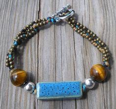 Porcelain,Tiger Eye,925 Sterling Silver,Bronze Beads Wax String Bracel | pavlos - Jewelry on ArtFire