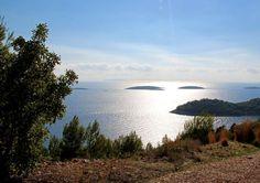 Prizba with five islets - Vrhovnjak, Sridnjak, Crklica, Stupa and Cerin Korcula Croatia http://hikenow.net/korcula/pic21-prizba-islets-korcula.html