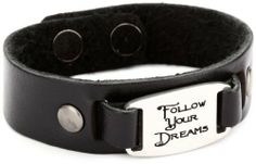 """Dillon Rogers I.D. Band """"Follow Your Dreams"""" Black Cuff Leather Bracelet Dillon Rogers. $42.00. Made in United States. Inscribed with an inspiring message. Hand crafted in Hollywood, California. Soft and flexible, imported leather"""