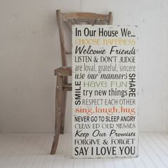 Family Rules Wood Sign In Our House We Choose Happiness Say I Love You... Large Size. $100.00, via Etsy.