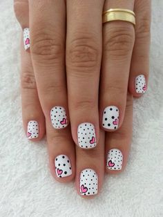 Polka dots and pink heart nail art - 30 Adorable Polka Dots Nail Designs