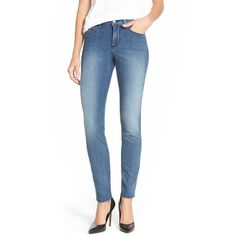 Petite NYDJ'Alina' Stretch Skinny Jeans (500 SAR) ❤ liked on Polyvore featuring jeans, karval, petite, blue jeans, stretch skinny jeans, slim skinny jeans, petite stretch jeans et stretch denim skinny jeans