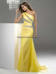 Yellow Beaded Chiffon One Shoulder Gown