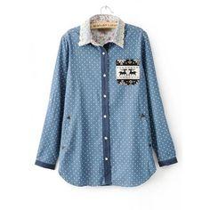 Sweet Polka Dot Deer Pocket Shirt$42.00 ($42) ❤ liked on Polyvore