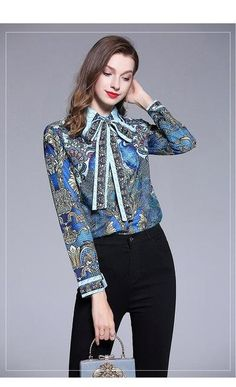 fddf8029fba189 Haute Designer Blouse - Peacock Print Long Sleeve Turn Down Bow Tie Collar