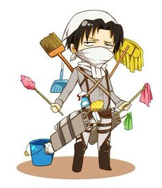 Levi Ackerman, cute, chibi, cleaning utensils, funny, cleaning products; Attack on Titan