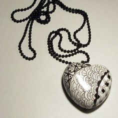 Zentangle Zendoodle Polymer Clay Necklace
