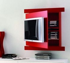 Chic and Modern TV wall mount ideas. Here are 15 best TV wall mount ideas for any place including your living room. Living Room Tv, Living Room Modern, Tv Furniture, Furniture Design, Tv Shelf Design, Moderne Pools, Tv Storage, Wall Mounted Tv, Home Deco