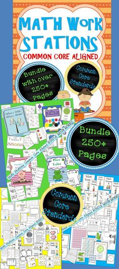 Math Stations Bundle!!! This packet contains 260  pages of signs, labels, station place mats, posters, response forms, discussion/partner talk forms, Math Journal prompts, printables, and center activities aligned with Common Core. I am still in the process of creating more pages to add to this packet for my classroom next year.** $