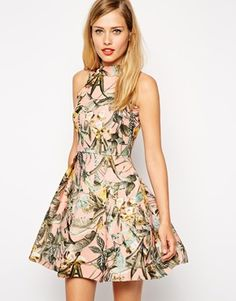 ASOS Structured Skater Dress with High Neck in Tropical Print