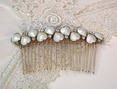 Wedding Hair Comb Vintage Style Vintage Rhinestone White Heart Hair Comb, Maid Of Honor, Bridesmaids Gifts Something Old Something Blue on Etsy, $49.00